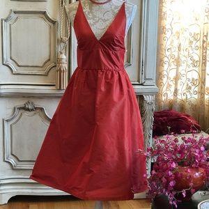 CHAIKEN SILK DRESS-ROSEY RED SPAGHETTI STRAP sz 6